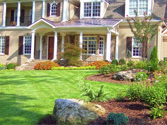 A front yard after renovation